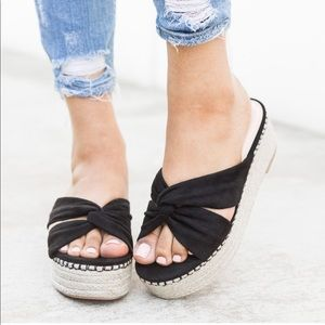 Shoes - BLACK ESPADRILLE KNOT PLATFORM SANDALS